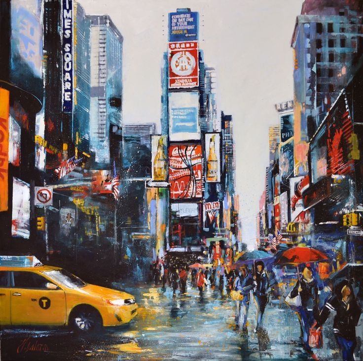 """""""Rainy Dai In Time Square"""" Original by Judith Dalozzo Acrylic on Canvas 100 x 100cm Limited Edition Giclee Canvas Prints also available."""