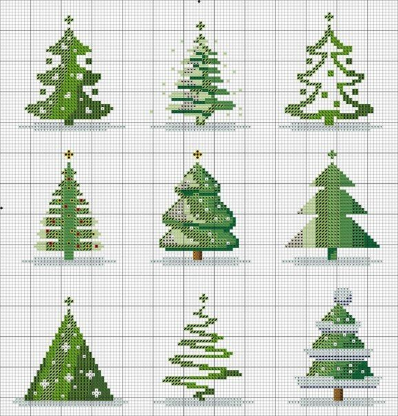 Cross stitch versions of Christmas trees