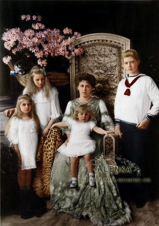 Maria Queen Maria of Romania with her four eldest children Carol, Elisabeta, Maria and Nicolae.