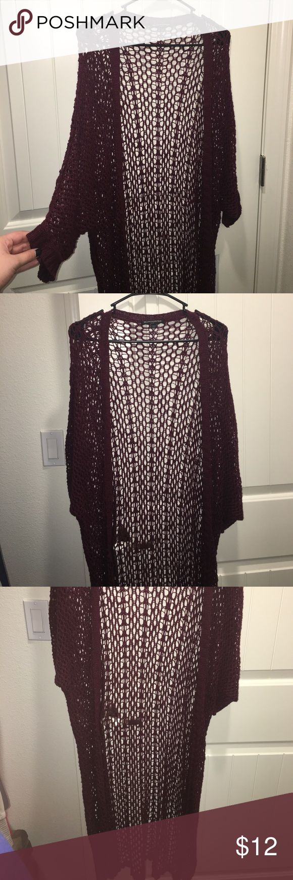 Brandy Melville Cardigan Long Burgundy Crocheted Cardigan. One Size Fits All. Brandy Melville Sweaters Cardigans