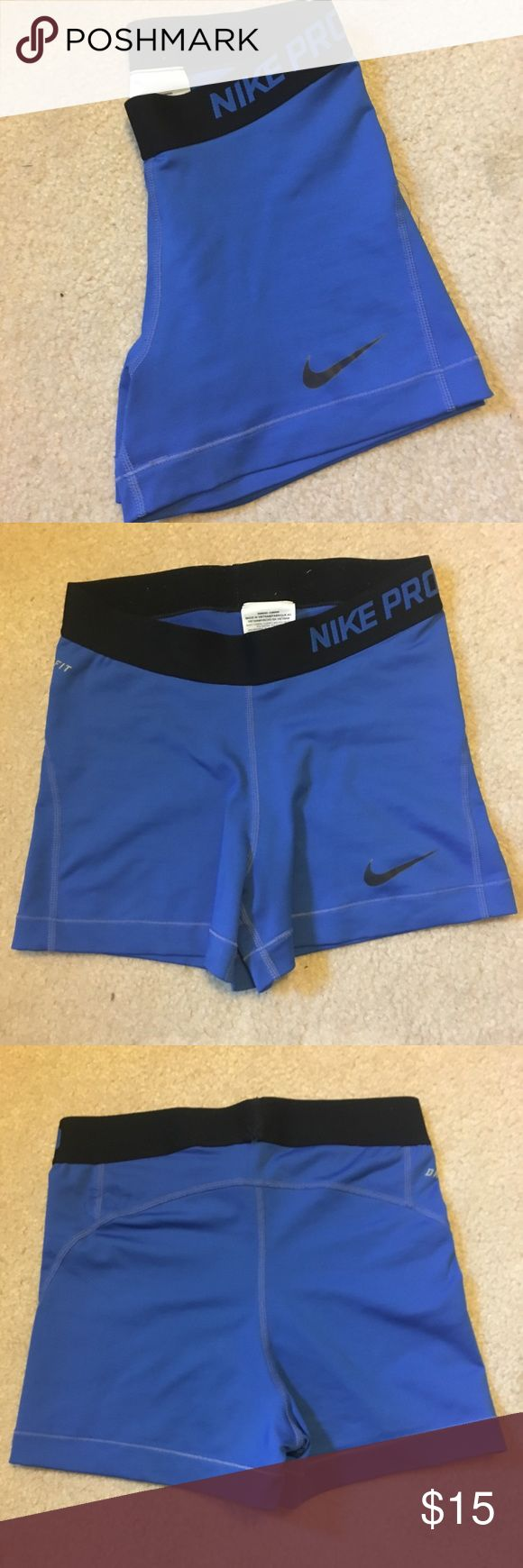 "Nike Pro Women's 3"" training shorts Women's blue nike pro spandex, used but in great condition (no holes or pilling) size small Nike Other"