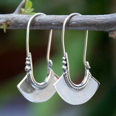 Women's Sterling Silver Hoop Earrings - Hollow Bell | NOVICA