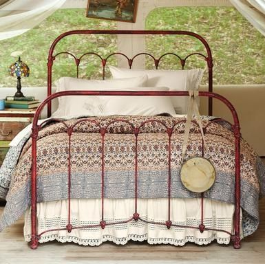 Dishfunctional Designs: Vintage Red Painted Furniture  -- so love this color and I've always loved vintage iron beds