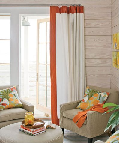 Living room ideas - Perhaps add a stripe to the living room curtains. Originally from: http://www.traceryinteriors.com/