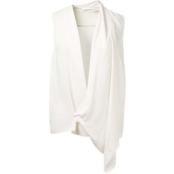 Victoria Beckham White Satin Asymmetrical Draped Blouse (€780) ❤ liked on Polyvore featuring tops, blouses, sleeveless tops, victoria beckham, white blouse, white satin blouse and white sleeveless blouse