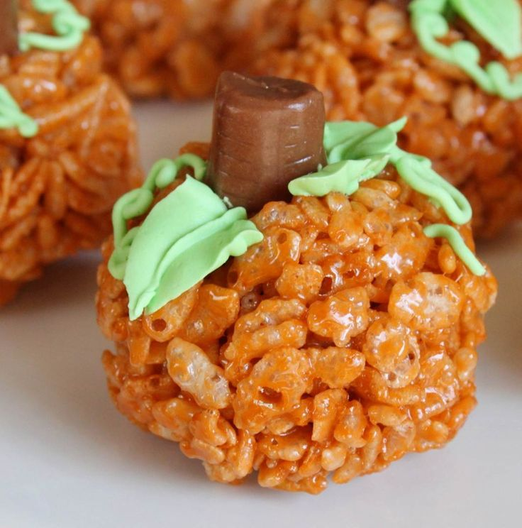 These Pumpkin Rice Krispies from Kate at the Grin and Bake It blog are so festive!    Pumpkin Rice Krispies Recipe  3 tbsp. butter  5 cups Rice Krispies  1 bag (8 0z.) Kraft Pumpkin Marshmallows  tootsie rolls  green icing (tan if you are making the pie shapes)  orange food coloring (optional)