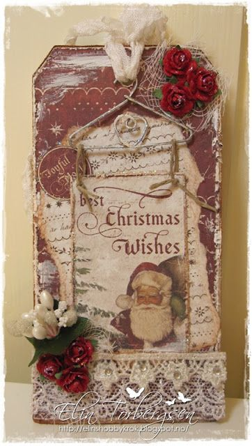 """Christmas Card created by LLC DT Member Elin Torbergsen, using papers & image from Maja Design's """"It's Christmas Time"""" collection."""