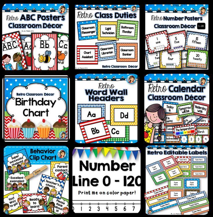Retro classroom decor, just print and go! Alphabet posters, number chart, birthday chart, calendar posters, number line, behavior clip chart and more!