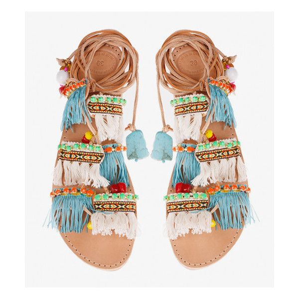 Pre-Order Elina Linardaki Mint Mojitos Handmade Sandal (255 AUD) ❤ liked on Polyvore featuring shoes, sandals, flat sandals, flats, flats sandals, multi color sandals, embellished flats, leather shoes and beaded sandals