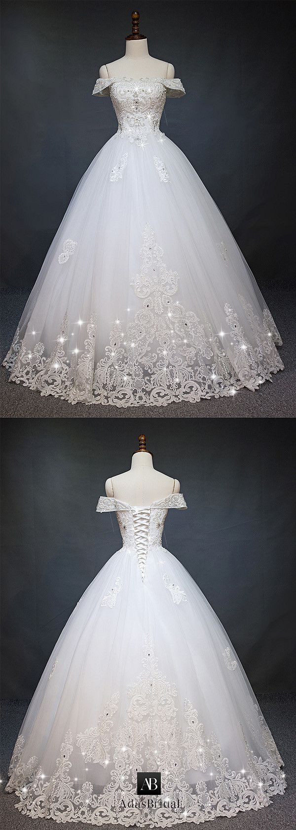 Gorgeous Tulle Off-the-Shoulder Neckline Ball Gown Wedding Dress With Lace Appliques & Beadings #laceweddingdresses