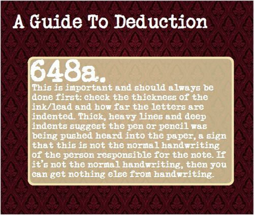A Guide To Deduction- very deliberate writing. Makes sense