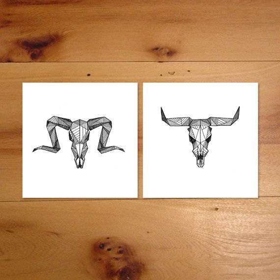 Geometric Ram & Bull (Aries / Taurus) Skull Pair - (Pair of Detailed Digital Art Prints from Original Geometric Skeleton Illustration)