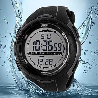 SKMEI® Men's Military Sports LCD Digital Rubber Band Waterproof Watch Wrist Watch Cool Watch Unique Watch 5017523 2017 – $10.99