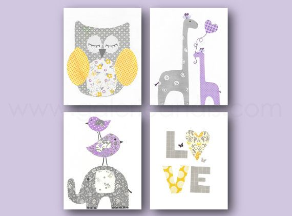 Hey, I found this really awesome Etsy listing at https://www.etsy.com/listing/218959348/purple-yellow-and-gray-nursery-art-baby