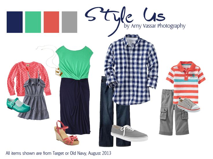What to wear for family photos guide, with navy blue, emerald green, and coral