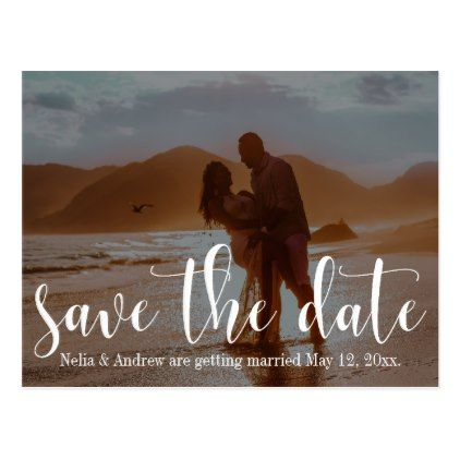 #savethedate #postcards - #Romantic Beach Photo Typography 30 Save the Date 1 Postcard