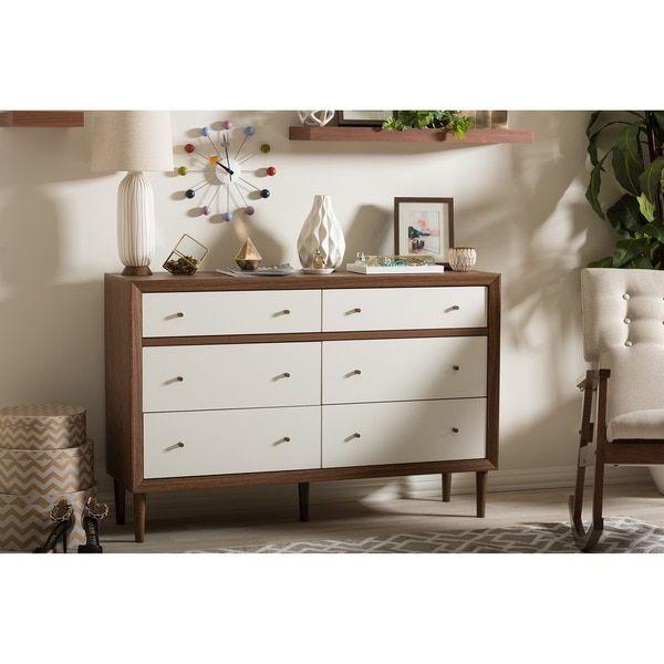 Baxton Studio Harlow Mid-century Modern Scandinavian Style White and Walnut Wood 6-drawer Storage Dresser