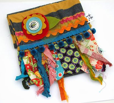 """Clean out those scrap bins, anything goes with these scarves: Here's what you'll need: Desired length of scarf x 18""""(mine are 40"""" long) Scraps of fabric, measuring at least 8"""" x 6"""",18' or longer trim pieces felt, velvet, tulle, etc for flower layers,1"""" or 1.5"""" ceramic button. Pattern available"""