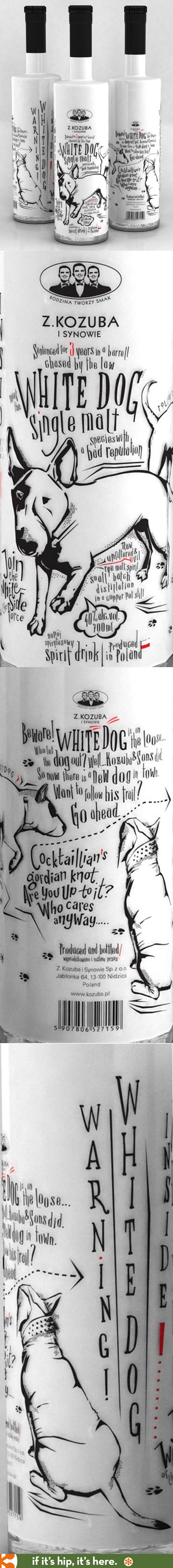 Fun bottle design for White Dog Single Malt.