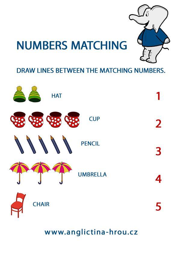pracovní listy z angličtiny pro děti - základní čísla - Numbers Matching