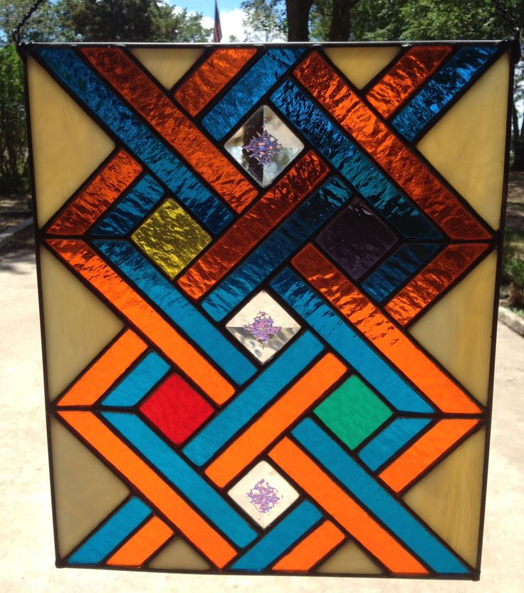 Contemporary Stained Glass Panel - Colorful Geometric Weave (PLG044) by PeaceLuvGlass on Etsy https://www.etsy.com/listing/191355331/contemporary-stained-glass-panel
