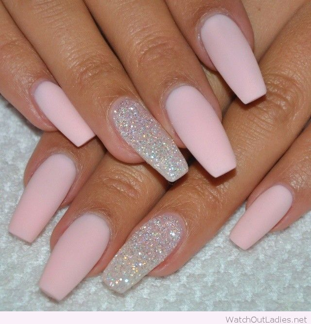 Soft pink matte and glitter coffin manicure