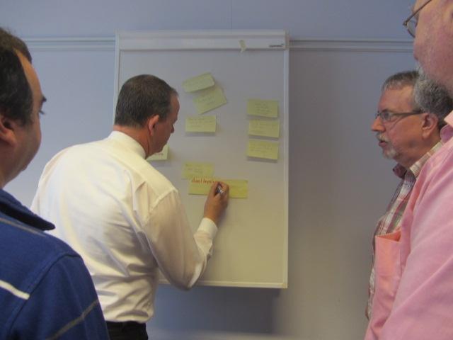 Tijdens een workshop 'Effectief vergaderen' worden de knelpunten én de oplossingen opgeschreven