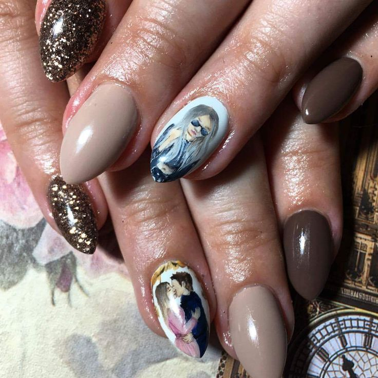 nude & brown nails, #love4nails, paint, autumn, glitter