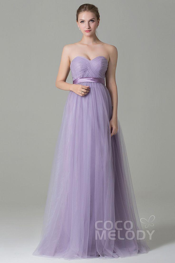 Charming Sheath-Column Natural Floor Length Tulle Light Purple Sleeveless Zipper Convertible Bridesmaid Dress with Ribbons COZF1500B