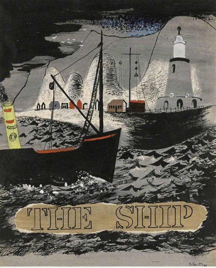 'The Ship' by John Piper, 1937 (pen & ink, watercolour, gouache & collage on paper)
