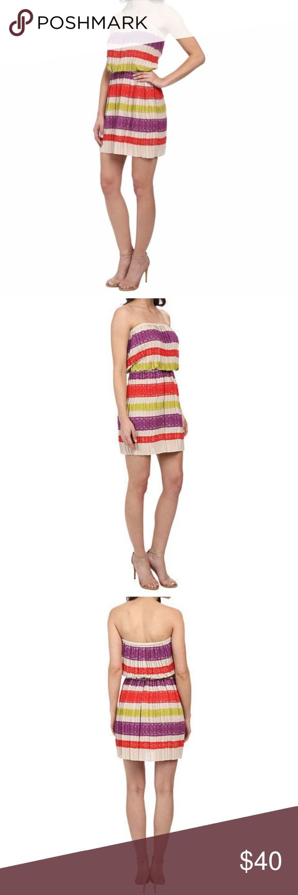 BCBG Max Azria Strapless Oatmeal Striped Dress BCBG MAX AZRIA STRAPLESS OATMEAL MATEO STRIPED DRESS  SIZE SMALL  NEW WITH TAGS $298  Sweet and sophisticated with just the right amount of sass for a youthful BCBGMAXAZRIA® style. Strapless design with covered elastic band for a secure fit. Pintucked pleating throughout. Vibrant lace overlay in a striped pattern throughout. Blouson waist. Pull-on construction. 100% polyester; Contrast: 80% cotton, 20% nylon; Contrast 2: 73% cotton, 27% nylon…
