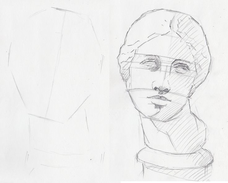 First outline of a female face drawing