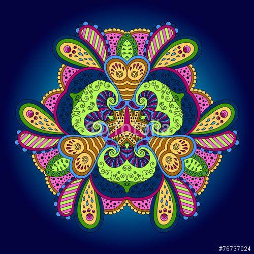 Вектор: Colorful mandala on a blue background.