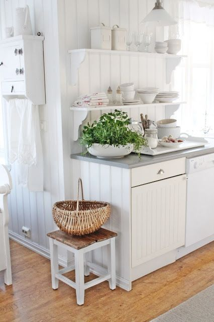 White country cottage kitchen in Norway (home tour), love the open shelves — Eclectically Vintage