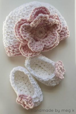 Free Crocheted Newborn Slippers pattern and link to hat pattern.