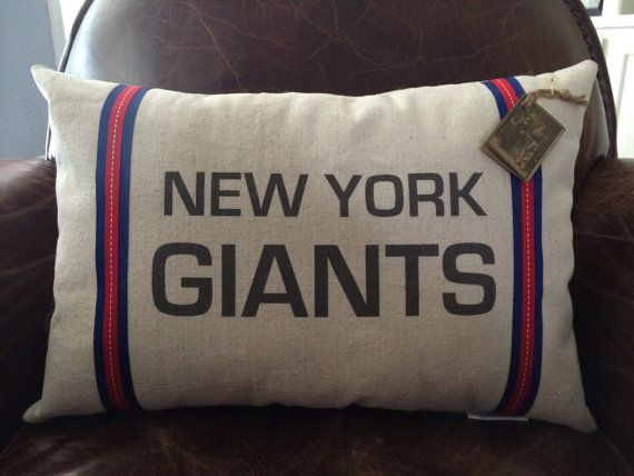 New York Giants Football Pillow by twotexascowgirls on Etsy