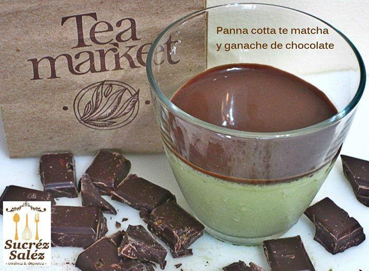Sucréz Sales te recomienda: Panna cotta de te verde con ganache de chocolate  Disponible en Tea Market  Avenida Nutibara nr 75-24, Laureles.