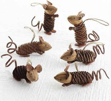 Winter Pinecone Friends, Mice eclectic holiday decorations