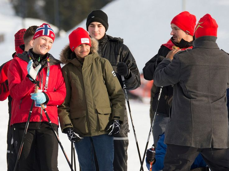 Norwegian Crown Prince Family meet refugees at Birkeneiner stadion in Lillehammer
