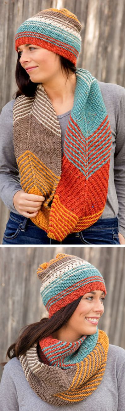Knitting Pattern for Allegiant Hat and Cowl Set - Hat and cowl set featuring garter stripes and sections of colorblock in garter stitch, mesh and garter rib. Cowl is worked flat with 3 options: cowl, infinity scarf and scarf. Aran weight yarn. Designed by britt schmiesing