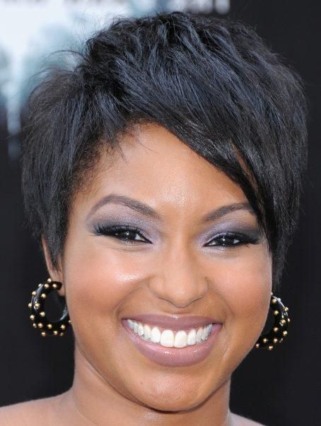 short hairstyle with bangs to the side and black short hair