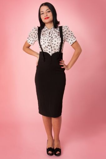 collectif clothing agarva braces black high waist pencil