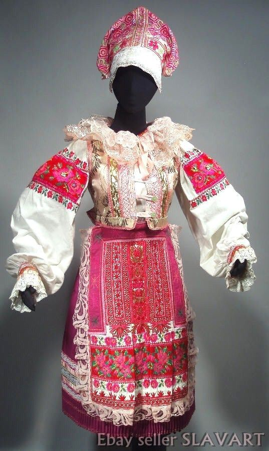 SLOVAK FOLK COSTUME woman's kroj Helpa pink dance ethnic embroidered blouse vest