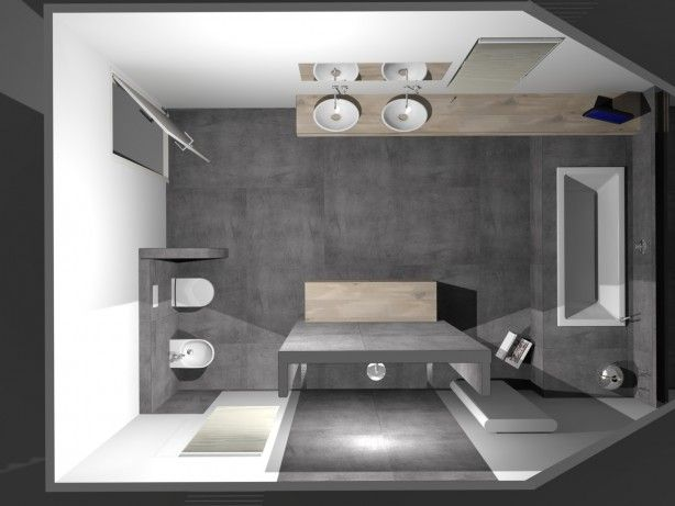 Strakke badkamer met stijlvolle waskommen op maatwerk blad. De rustige kleurstelling van deze badkamer benadrukt de pure vormen van het sanitair. Het royale bad is onder het schuine dak aan de achterzijde van de badkamer geplaatst. Een mooi detail is het doorlopende, maatwerk wastafelblad. Het wastafelblad en het badkamermeubel zijn van massief eiken. Bidet en het toilet passen qua ronde vormgeving uitstekend bij de waskommen. strakke inloopdouche