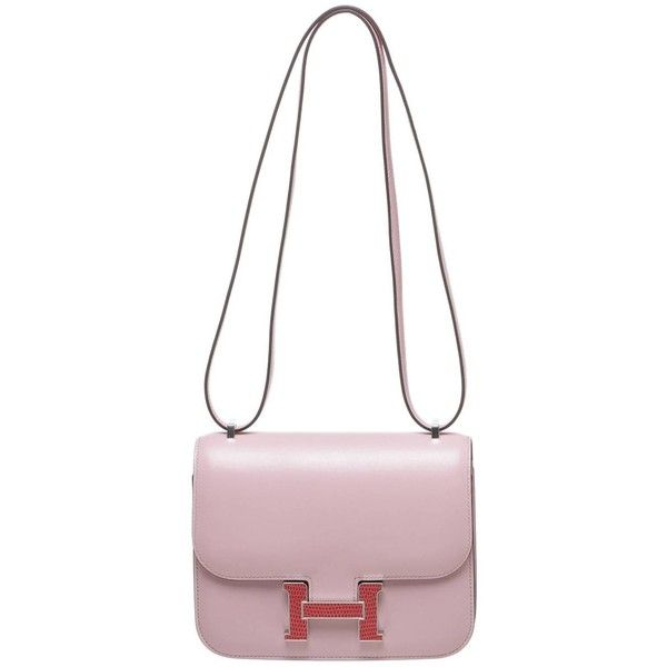 Hermes Pink Leather and Lizard Buckle Constance 18cm Handbag ($21,785) ❤ liked on Polyvore featuring bags, handbags, man bag, leather purse, hermes handbags, leather hand bags and hermes purse