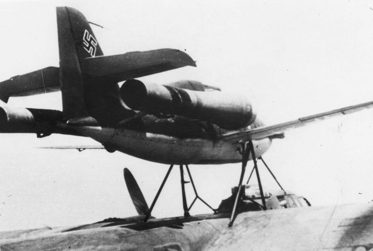 German - Messerschmitt Me-328 (Project P.1073) was Started in 1941 - 2 Versions were Proposed (1) the Me-328A (Fighter) and (2) the Me-328B (Bomber) Photo Shows a Me-328 Piggy Back on a Dornier Do-217 to be Released for Flight Testing by Hanna Reitsch