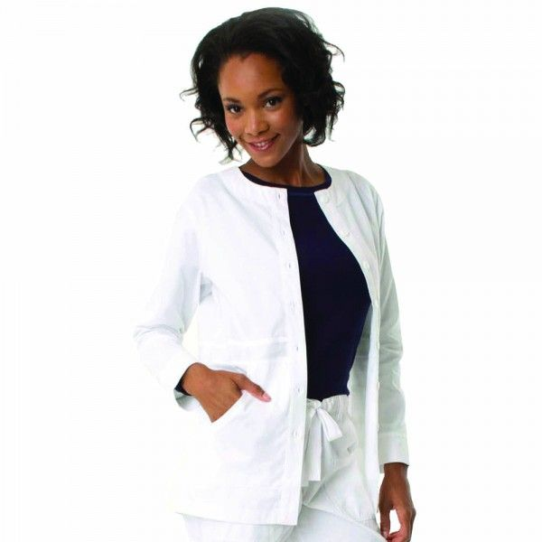 """Koi Olivia Lab Coat. The koi Olivia Lab Coat for women is delightfully shorter than your average lab coat design at 62cm or 28"""" long. This lab coat is simple, sleek and versatile and designed in a lightweight jacket style with a round neck, buttoned front and deep pockets for all your bits and pieces. It is lovely a soft, made from 55% cotton and 45% polyester. £27.99 #labcoat"""