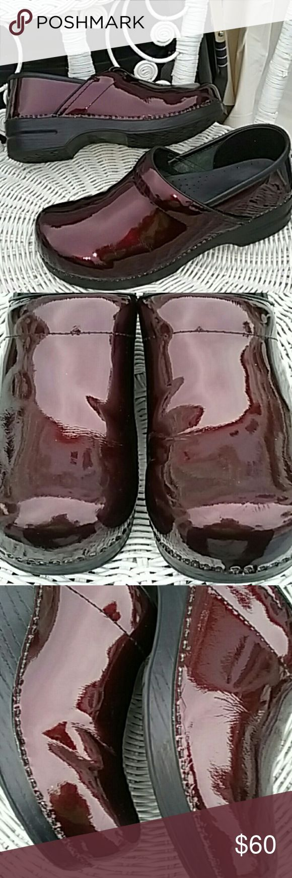 Danskos klogs burgundy patent leather For sale Dansko clogs size 42 burgundy patent leather they are in very good condition there are a few small scratches you have to look very closely they are immaculately clean and a very good shape beautiful shine still on them the heel shows a little wear but off hand they look great Dansko Shoes Mules & Clogs