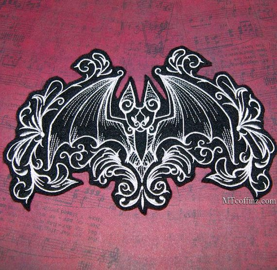 Damask Gothic Bat Black White Gray Iron On Embroidery by MTthreadz