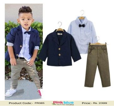 Designer 3 Piece Baby Boy Clothes Sets - Gentleman Partywear Suit, Toddler Boys Clothing Set, Long Sleeve Kids Shirt and a Jacket With pants ( 2-8 Yrs )